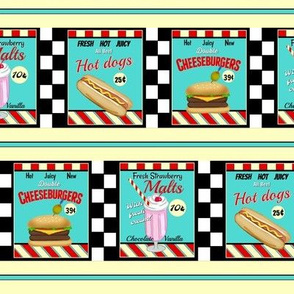 50s diner food  signs small / stripes