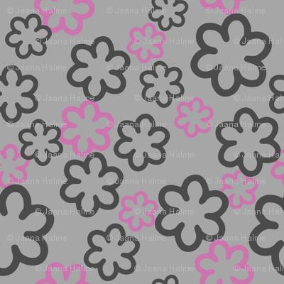 Simple geometric Flowers on Gray