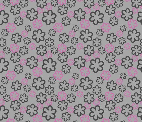 Simple geometric Flowers on Gray fabric by jaanahalme on Spoonflower - custom fabric