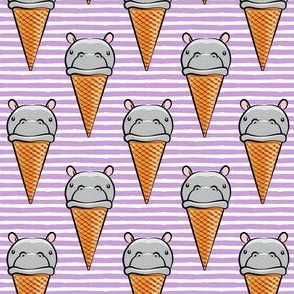Hippopotamus ice cream cone - grey on purple