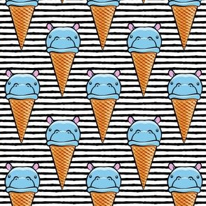 Hippopotamus ice cream cone - blue on black