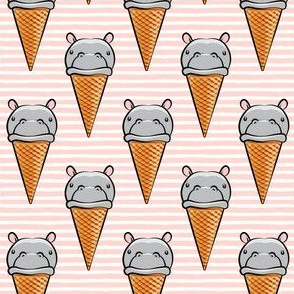 Hippopotamus ice cream cone - grey on pink
