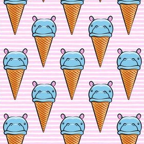 Hippopotamus ice cream cone - blue on pink