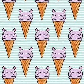 Hippopotamus ice cream cone - purple on aqua