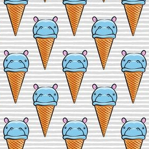 Hippopotamus ice cream cone - blue on grey