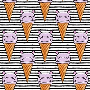 Hippopotamus ice cream cone - purple on black