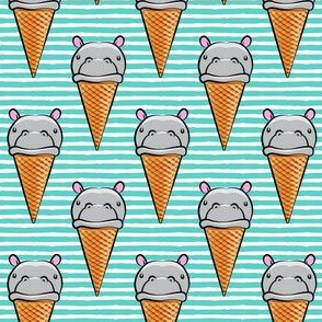 Hippopotamus ice cream cone - grey on teal