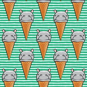 Hippopotamus ice cream cone - grey on green
