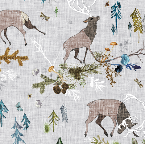 Duelling Stags (in forest) MED fabric by nouveau_bohemian on Spoonflower - custom fabric