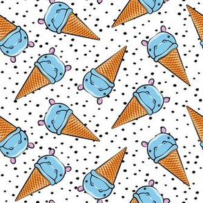 Hippopotamus ice cream cone - toss - blue on black polkas