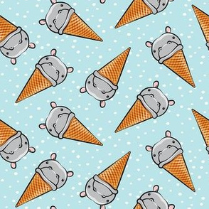 Hippopotamus ice cream cone - toss - grey on blue