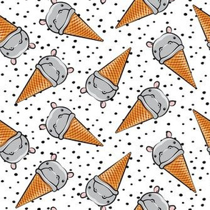Hippopotamus ice cream cone - toss - grey w/ black polkas