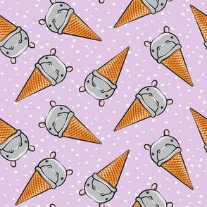 Hippopotamus ice cream cone - toss - grey on purple w/  polkas