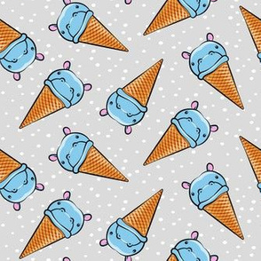 Hippopotamus ice cream cone - toss - blue on grey w/ polkas