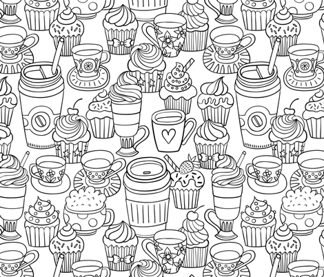 coffee & cupcake fabric by mirabelleprint on Spoonflower - custom fabric