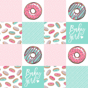 Baby Girl - donut patchwork - pink and teal