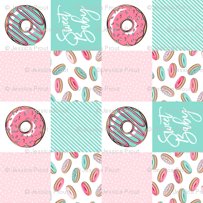 Sweet baby donut patchwork - pink and teal (90)