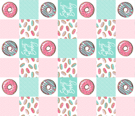 Sweet baby donut patchwork - pink and teal (90) fabric by littlearrowdesign on Spoonflower - custom fabric