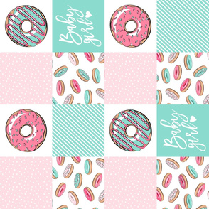 Baby Girl - donut patchwork - pink and teal (90)