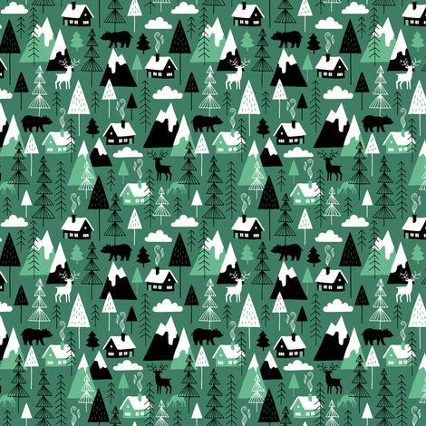 Winter alps adventure chalet (green mini) fabric by heleen_vd_thillart on Spoonflower - custom fabric