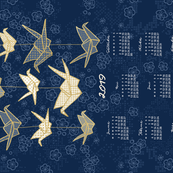 German 2019 Calendar, Monday / Origami