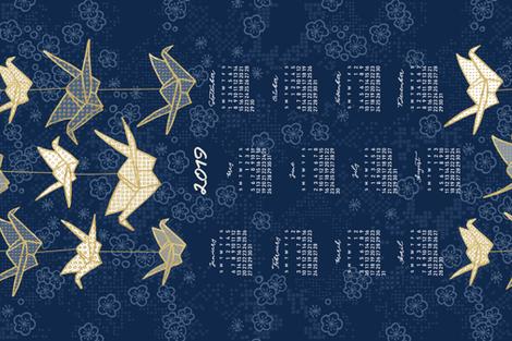 2019 Calendar, Sunday / Origami fabric by marketa_stengl on Spoonflower - custom fabric