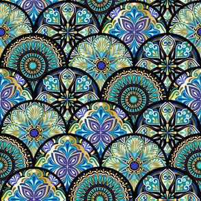 Colorful floral seamless pattern from circles with mandala in patchwork boho chic style