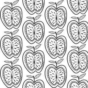 Doodle Apfel schwarz-weiß 1