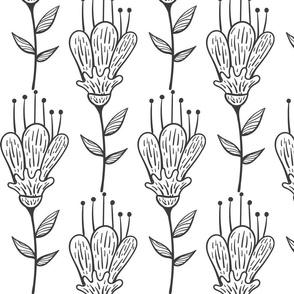 Doodle Blume schwarz-weiß 2