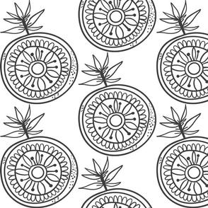 Doodle Frucht Orange schwarz-weiß 1