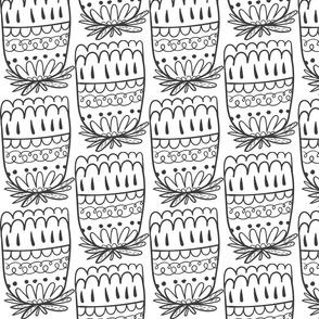 Doodle Artischocke schwarz-weiß 1