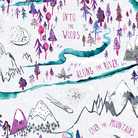 Let's Go Adventuring (violet) fabric by nouveau_bohemian on Spoonflower - custom fabric