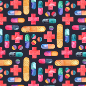 Capsules, Crosses, Pills & Plasters in watercolor on dark - large print