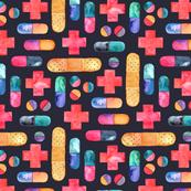 Capsules, Crosses, Pills & Plasters in watercolor on dark - large print