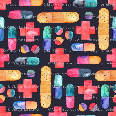 Capsules, Crosses, Pills & Plasters in watercolor on dark - small print