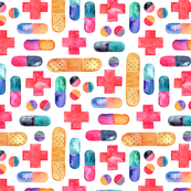 Capsules, Crosses, Pills & Plasters in watercolor on white - large print