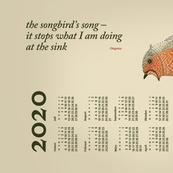 German 2020 Calendar, Monday / Haiku Songbird