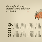 German 2019 Calendar, Monday / Haiku Songbird