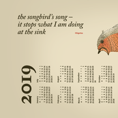 2019 Calendar, Monday / Haiku Songbird