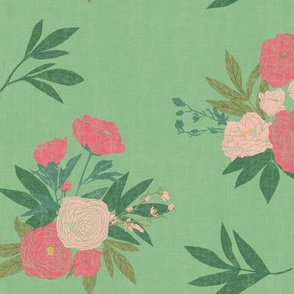 Peony Floral - Green