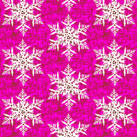 White snowflake on Pink texture fabric by magentarosedesigns on Spoonflower - custom fabric