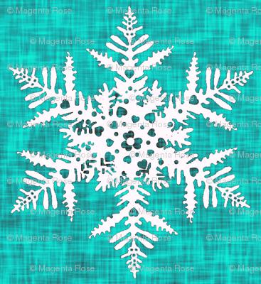 1950s White snowflake on teal texture