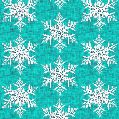1950s White snowflake on teal texture fabric by magentarosedesigns on Spoonflower - custom fabric