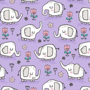 Elephants With Flowers on Purple Lilac 2 inch