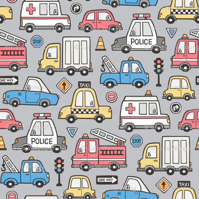 Cars Vehicles Doodle fabric Blue Red Yellow on Grey