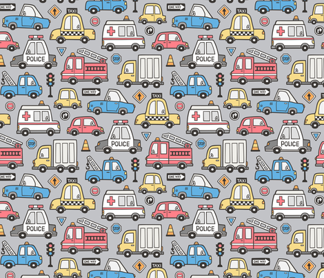 Cars Vehicles Doodle fabric Blue Red Yellow on Grey fabric by caja_design on Spoonflower - custom fabric