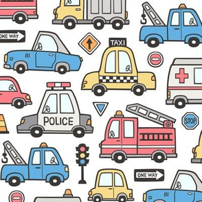 Cars Vehicles Doodle fabric Blue Red Yellow on White