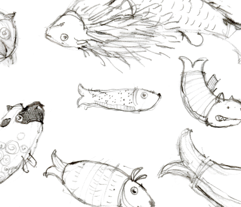 Fish Sketches fabric by jasongrimes on Spoonflower - custom fabric
