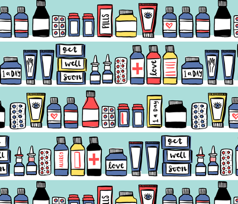 Medicine cabinet fabric by laura_may_designs on Spoonflower - custom fabric
