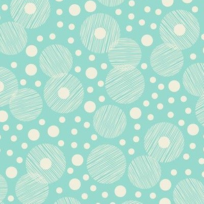 Retro Style Textured Off White Circles-Bubbles on Mint Background